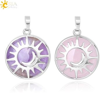 CSJA Sun & Moon Pendant Reiki Healing Natural Stone Purple White Crystal Quartz Beads for Jewelry Making Necklace Women Men F336