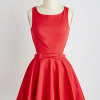 50s Mid-length Sleeveless Fit & Flare Classic Twist Dress in Ruby