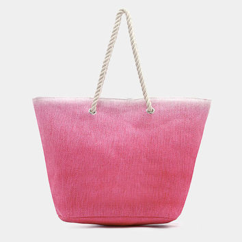 Pink Ombre beach tote bag with cotton rope handles, magnetic snap closure