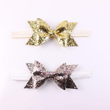 1 X Baby Girl Newborn Gold Silver Glitter Flower Hairband Headband Bowknot Hair Band Accessories