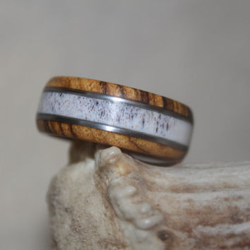 Antler Ring, Bocote and Deer Antler with Silver Inaly