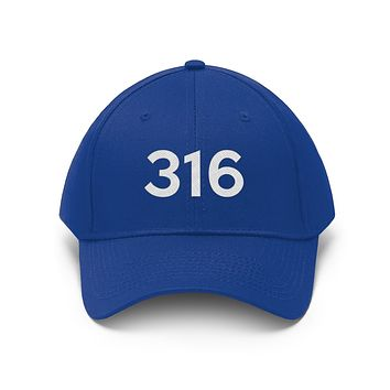 Kansas 316 Area Code Embroidered Twill Hat