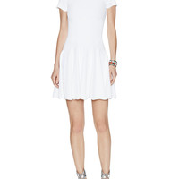 Textured Short Sleeve Fit & Flare Dress