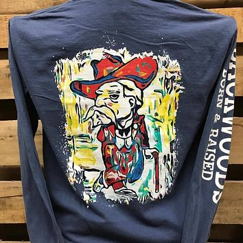 Backwoods Cowboy Watercolor Colonel Comfort Colors Bright Unisex Long Sleeve T Shirt