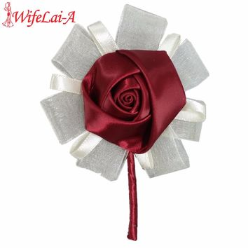 WifeLai-A Dark Red Color Wedding Corsage Diamond Rose Accessories for Wedding Bride and Groom Color Optional XH-037