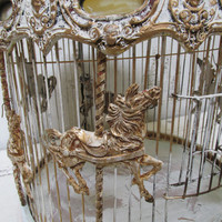 Carousal bird cage antique ornate merry go round French inspired recycled hand painted large round birdcage home decor anita spero