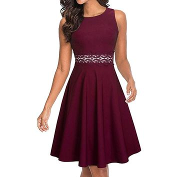 Elegant o neck lace dress women Sexy hollow out dress Overlay pleated burgundy casual summer dress vestidos female