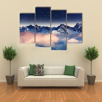 The Milky Way Over Winter Mountains Landscape Multi Panel Canvas Wall Art
