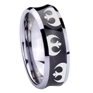 8MM Black Concave Star Wars Rebel Alliance Two Tone Tungsten Carbide Laser Engraved Ring