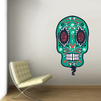 Full Color Wall Decal Mural Sticker Decor Art Beautyfull Cute Sugar Skull Bedroom Curly modern fashion (col730)