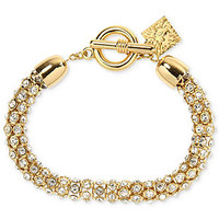 Anne Klein Bracelet, Gold-Tone Pave Accent Tubular Toggle Bracelet - Fashion Jewelry - Jewelry & Watches - Macy's