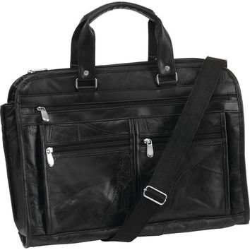 Embassy Italian Stone Design Genuine Buffalo Leather Concealed Carry Briefcase