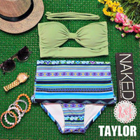 Taylor - Retro Vintage Pin Up Handmade Green Abstract Cut Out Bandeau High Waist Bikini Swimsuit Swimwear
