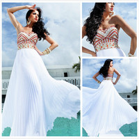 WowDresses — A-line Chiffon Sweetheart Floor Length Graduation Dress