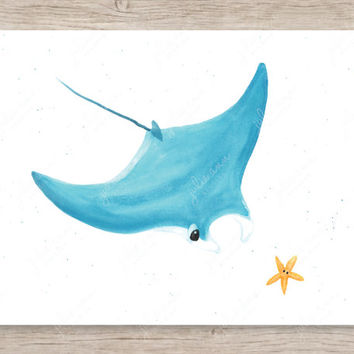 Manta Ray and Starfish Friends Art Print, Ocean Nursery Decor, Manta Ray Art, Starfish Art, Ocean Nursery Art, Baby Room Art, Nursery Art