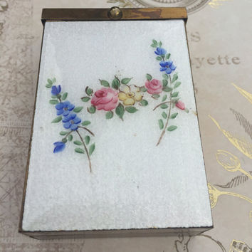 Vintage Rose Guilloche Enamel Floral Cigarette Case Holder,