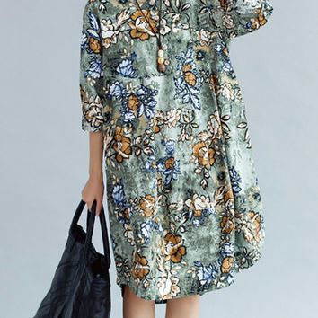 Streetstyle  Casual Round Neck Printed Cotton/Linen Shift Dress