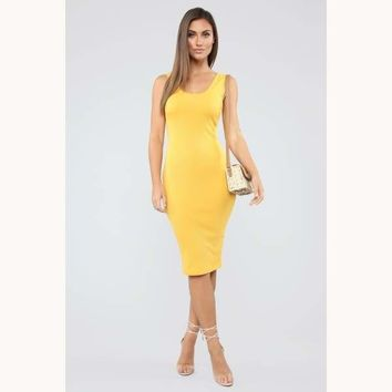 Take All Of Me Ribbed Midi Dress-Mustard