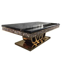Contemporary High End Glossy Black Shine Marble Coffee Table