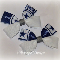 Dallas Cowboys ~ Clippie PIgtail Hair Bow Set ~ Blue, White and Gray ~ Baby Hair Bows ~ Small Hair Bows ~ Sports Team Bows ~ NFL Bows