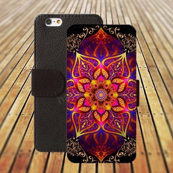 iphone 5 5s case mandala flowers iphone 4/ 4s iPhone 6 6 Plus iphone 5C Wallet Case , iPhone 5 Case, Cover, Cases colorful pattern L064