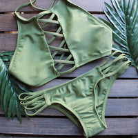 Swimsuit New ArrivalCross Lace Strappy Bikini [10460648020]