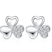 925 Sterling Silver Clover Stud Earrings