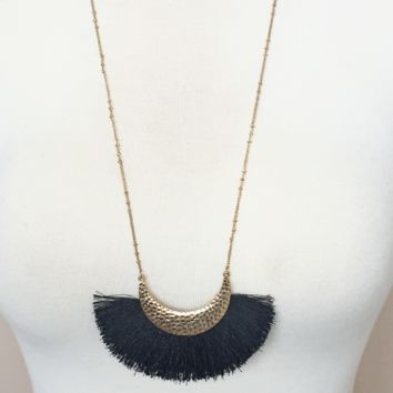 Kixters - Hammered Metal Black Fringe Long Necklace