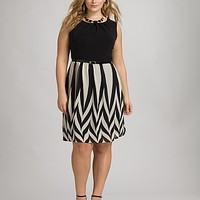 Plus Size Belted Chevron Dress