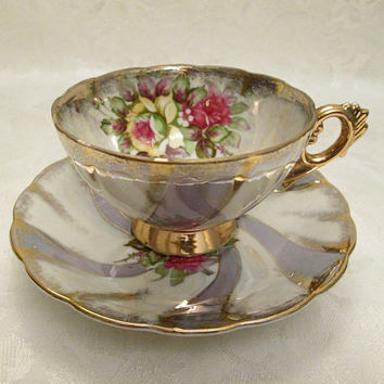Swirled Silvery Lavender and White Lusterware Tea Cup and Saucer with Yellow Pink Roses  - Japan