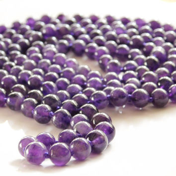 Natural Amethyst Necklace Amethyst Bead Necklace Long Purple Bead Necklace Knotted Genuine Amethyst Stone Necklace 60 inches long