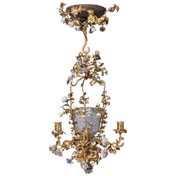 Louis XVI French Glass and Dore Bronze Four-Light Chandelier