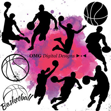10 Basketball Digital Clipart, Clipart Design Elements, Instant Download, Black Silhouette Clip art
