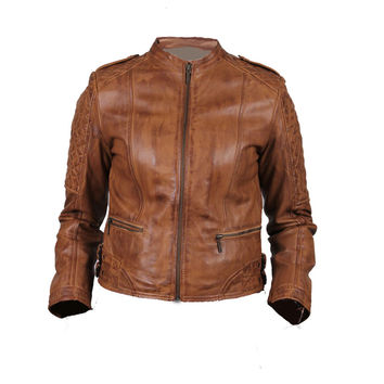 Women's moto style leather jacket