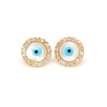 Round Evil Eye CZ Stud Earrings