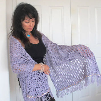 Sequined knit shawl, lilac lace luxury evening wrap with fringe, luxury outerwear, FREE SHIPPING