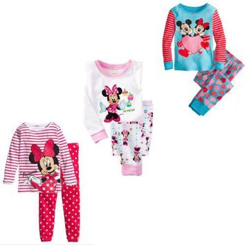 Minnie Mouse Pajamas Girls Top Shirt Legging Set Kids Nightwear Sleepwear