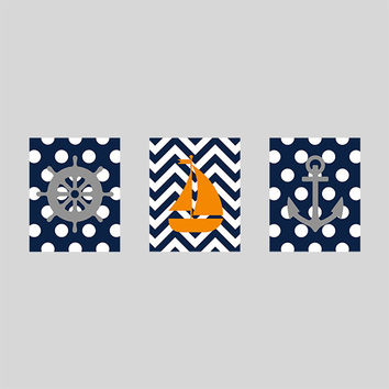 Nursery Print Nautical Sailboat Anchor, Navy Gray Orange Nautical Print, CUSTOMIZE YOUR COLORS, 8x10 Prints, set of 3, decor art baby decor