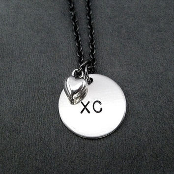 XC Cross Country LOVE Necklace - Running Necklace on 18 inch gunmetal chain - Cross Country Team Necklace - Cross Country Coach - XC team