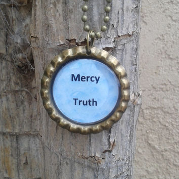 Scripture necklace,handmade christian jewelry,Bottle cap necklace,proverbs 3:3,Mercy and Truth,christian jewelry