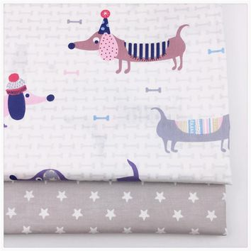 Cute dogs gray stars patterns twill cotton fabric bundle quilting patchwork diy sewing clothes bedding tissus tilda syunss