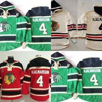 Mens Chicago Blackhawks 4 Niklas Hjalmarsson Cheap 100% Embroidery Logo Cheap Green Beige Red Ice Hockey Hoodies/Hooded Sweatshirt