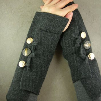 Grey arm warmers fingerless gloves fingerless mittens by piabarile