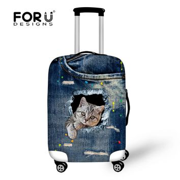 Vintage Denim Animal Cat Travel Suitcase Protector Cover,Waterproof Elastic Luggage Covers for 18 20 26 28 30 Inch Trolley Cases