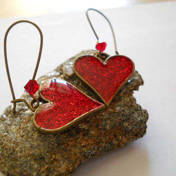 Red heart dangle earrings, red glitter heart resin earrings, resin jewelry, antique brass, engagement gift, marry me, marriage proposal