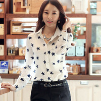 2016 Trending Fashion Women Korean Style Chiffon Floral Printed Stars Slim Long Sleeve Stars Shirt Blouse Top _ 3218