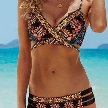 Streetstyle  Casual Cute Boho Cross Multi Color Bikini Set
