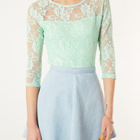 Half Sleeve Lace Crop Top - Palm Springs  - Clothing