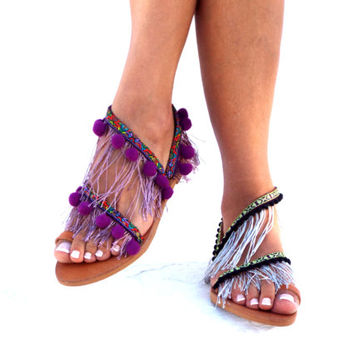 Hawai, Pom Pom sandals, LEATHER Sandals, , Colorful  Sandals, boho Sandals, Delos Art Leather Sandals, Greek Sandals, Handmade Sandals