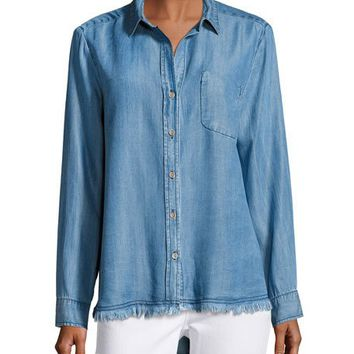 Velvet Heart Camisa Button-Down Shirt, Indigo